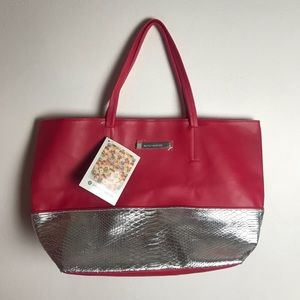Vince Camuto Pink Silver Snake Tote